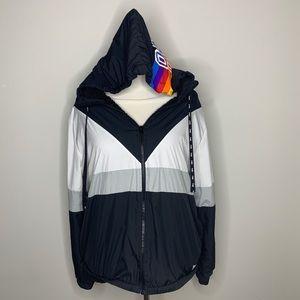 VS PINK Full Zip Fleece Anorak Chevron M/L